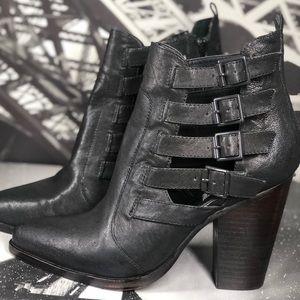 Stylish Steve Madden Leather Black Booties